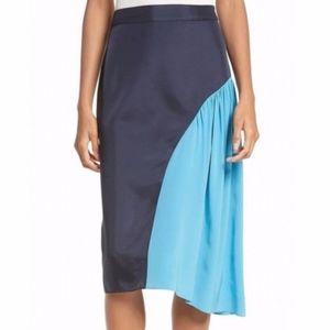 NWT Tibi Color Block Shirred Skirt